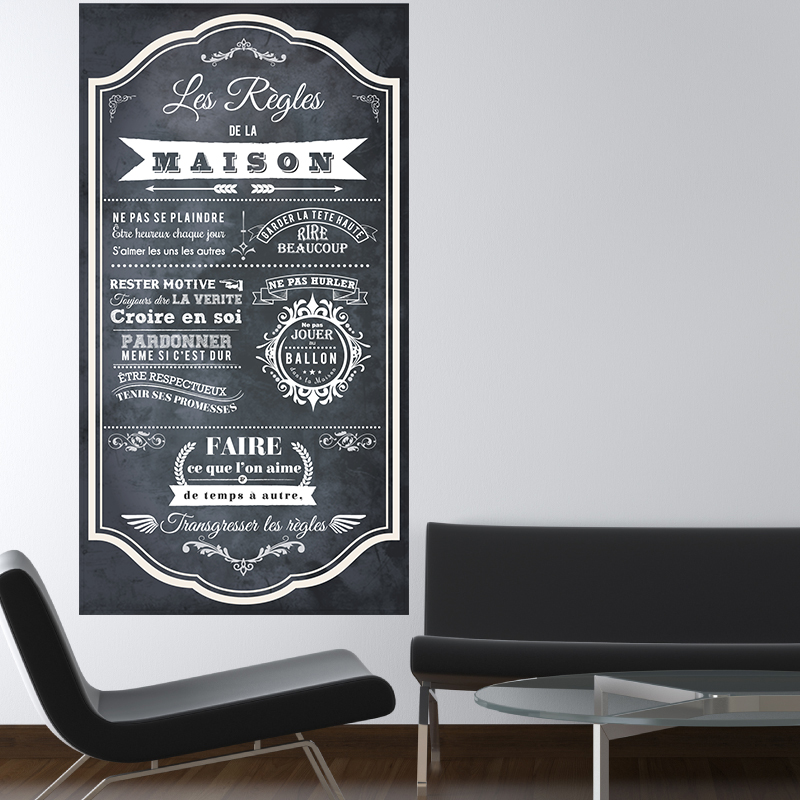 sticker poster les r gles de la maison style ardoise. Black Bedroom Furniture Sets. Home Design Ideas
