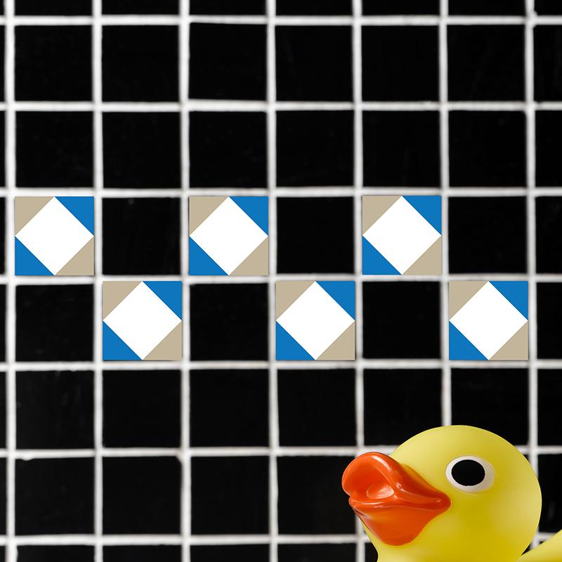 sticker pour carrelage g233om233trique bleu blanc et gris