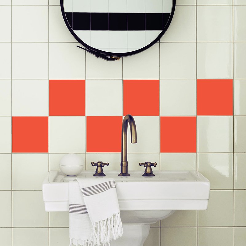 Sticker pour carrelage les carr s orange stickers salle for Carrelage salle de bain orange