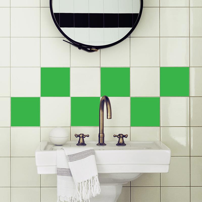 sticker pour carrelage les carr s verts stickers salle de bain et wc ambiance sticker. Black Bedroom Furniture Sets. Home Design Ideas