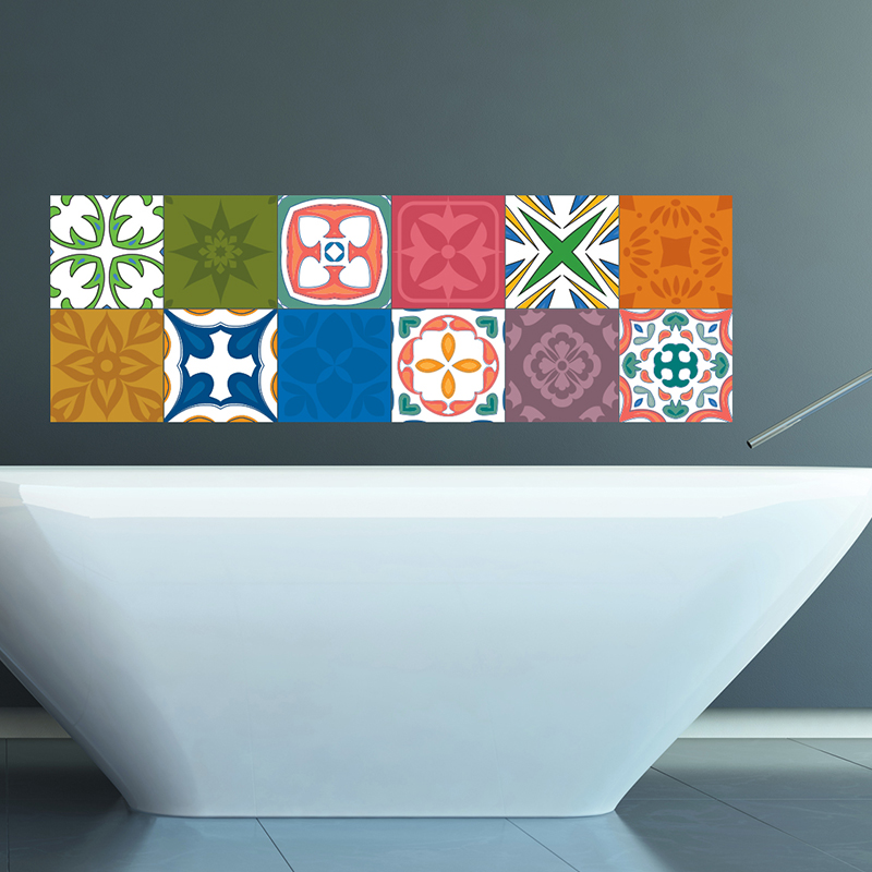 sticker pour carrelage multicouleurs stickers art et. Black Bedroom Furniture Sets. Home Design Ideas