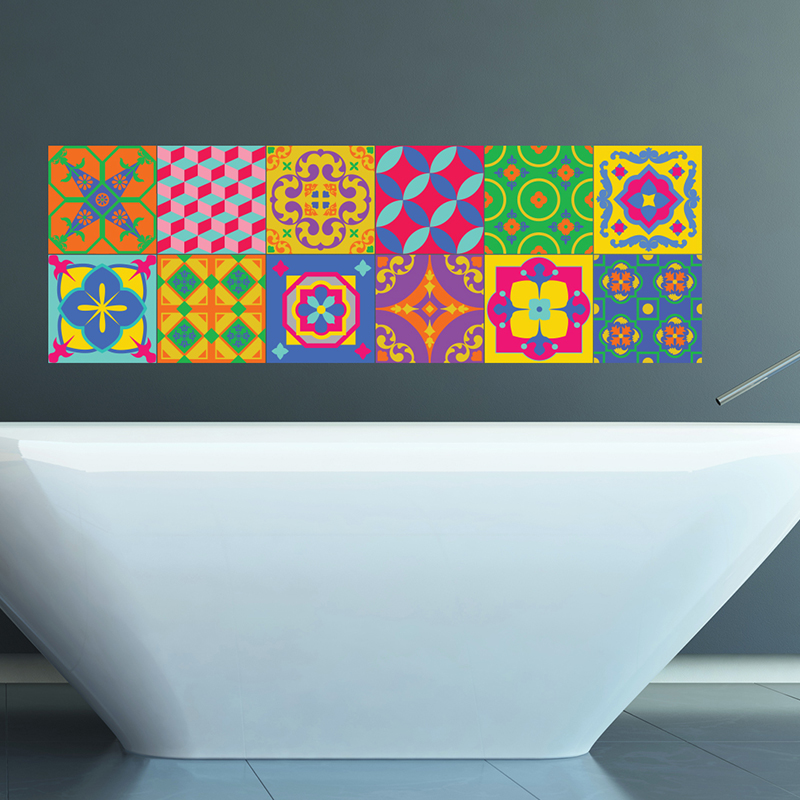 sticker pour carrelage multicouleurs 2 stickers art et design artistiques ambiance sticker. Black Bedroom Furniture Sets. Home Design Ideas