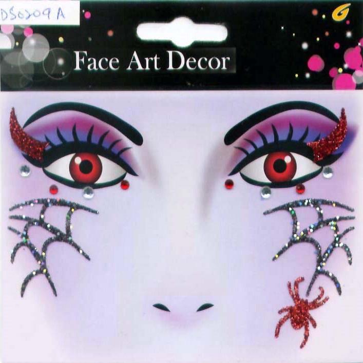 Sticker pour le visage toile d araign e - Maquillage toile d araignee visage ...