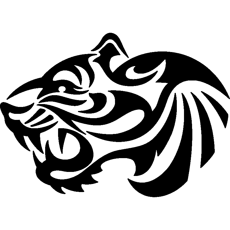 Top Stickers et Autocollants Voiture - Sticker Tête de tigre  OP33