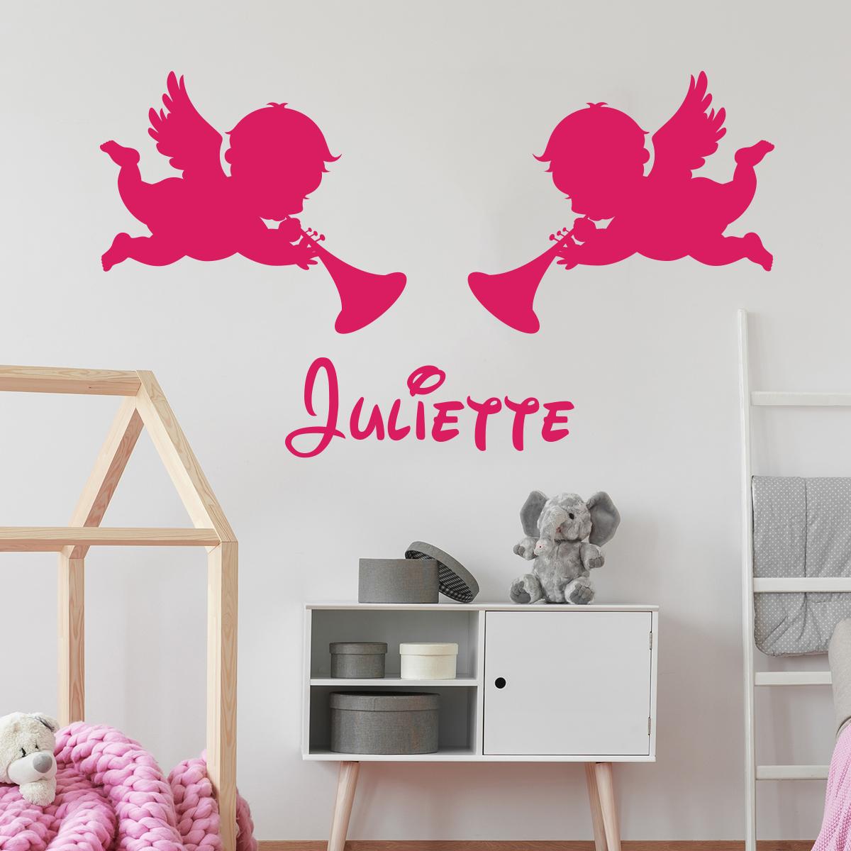 sticker pr nom personnalisable 2 anges chambre enfants. Black Bedroom Furniture Sets. Home Design Ideas