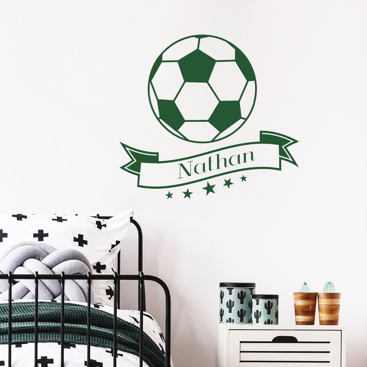 sticker pr nom personnalisable ballon de foot stickers. Black Bedroom Furniture Sets. Home Design Ideas