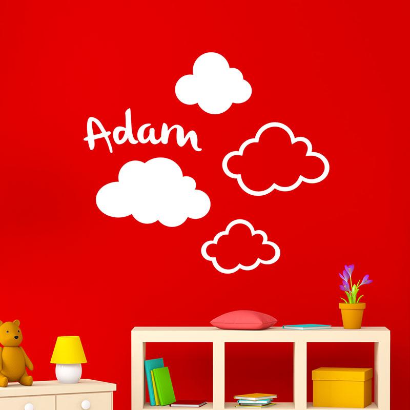 sticker pr nom personnalisable dans les nuages texte. Black Bedroom Furniture Sets. Home Design Ideas