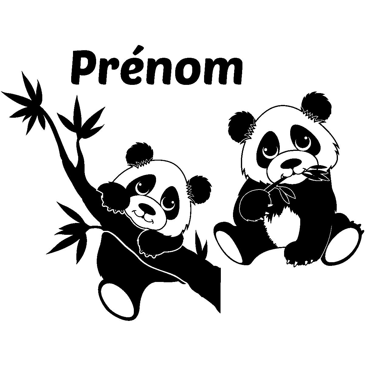 sticker pr nom personnalisable deux adorables pandas. Black Bedroom Furniture Sets. Home Design Ideas