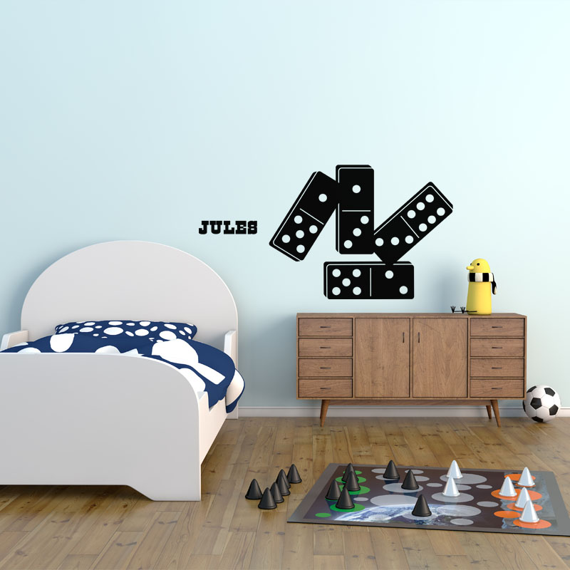 Sticker pr nom personnalisable dominos chambre enfants pr noms ambiance sticker - Stickers prenom porte chambre ...