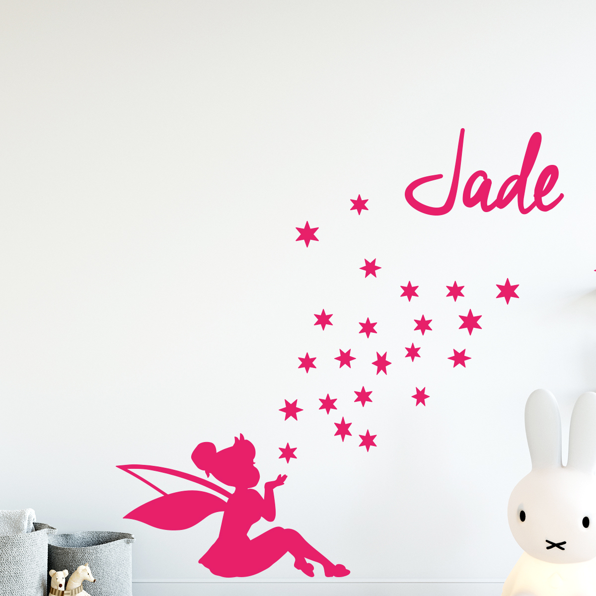 sticker pr nom personnalisable f e soufflant les toiles. Black Bedroom Furniture Sets. Home Design Ideas