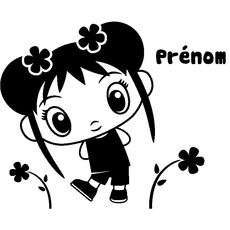 sticker prénom personnalisable fille kawaii et fleurs – stickers