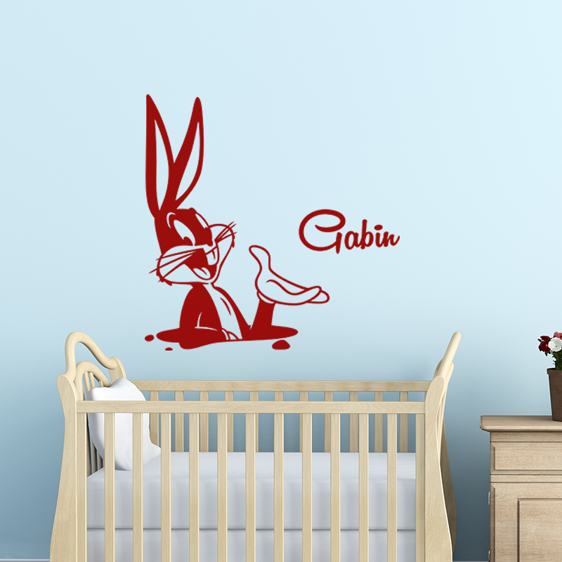 sticker pr nom personnalisable le lapin dans son terrier stickers chambre enfants pr noms. Black Bedroom Furniture Sets. Home Design Ideas