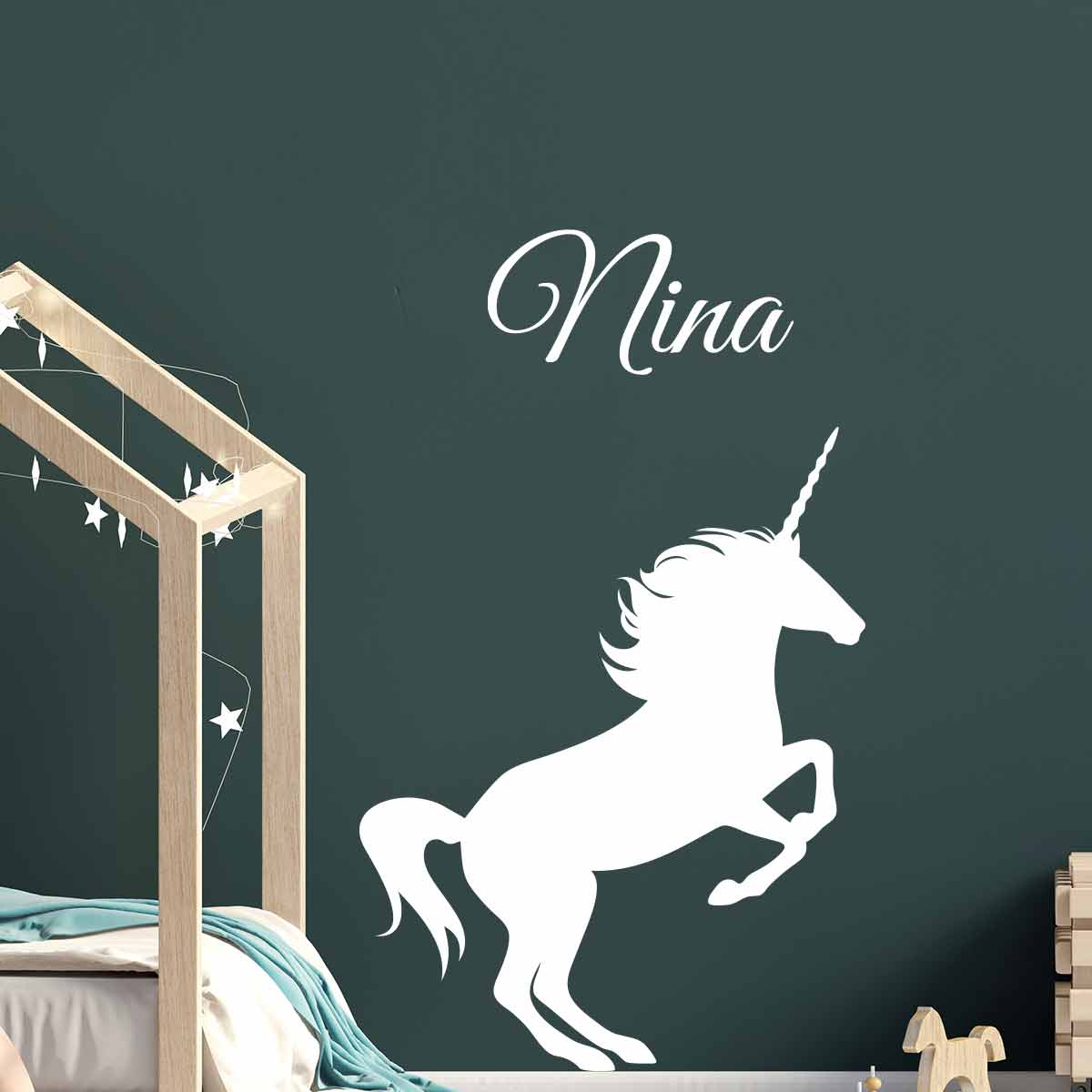 sticker pr nom personnalisable licorne texte. Black Bedroom Furniture Sets. Home Design Ideas