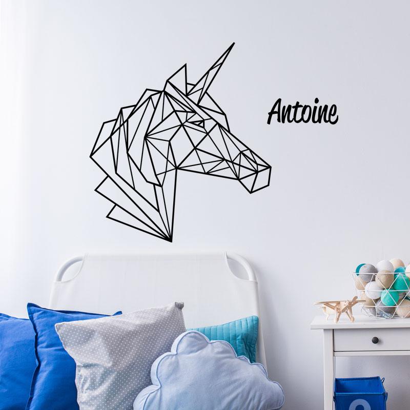 sticker pr nom personnalisable licorne en origami texte personnalisable pr nom ambiance sticker. Black Bedroom Furniture Sets. Home Design Ideas