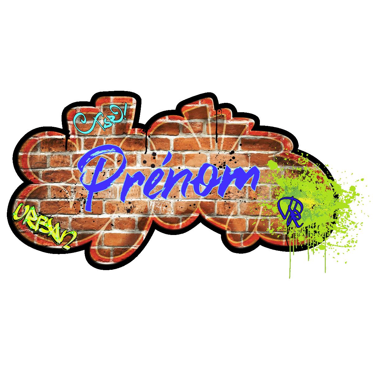 Sticker pr nom personnalisable mur de graffiti stickers chambre enfants pr noms ambiance sticker - Graffiti prenom gratuit ...