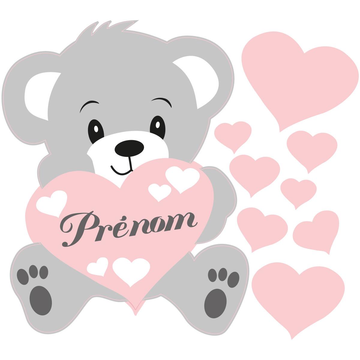 Sticker prénom personnalisable ourson rose – Stickers