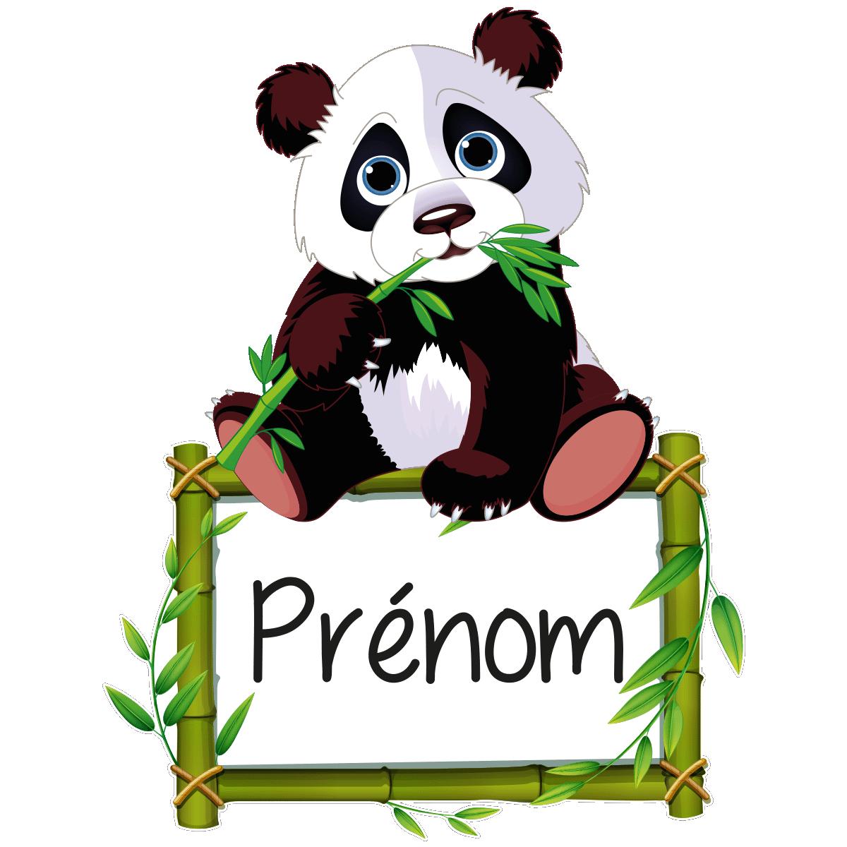 sticker pr nom personnalisable panda et son bambou. Black Bedroom Furniture Sets. Home Design Ideas