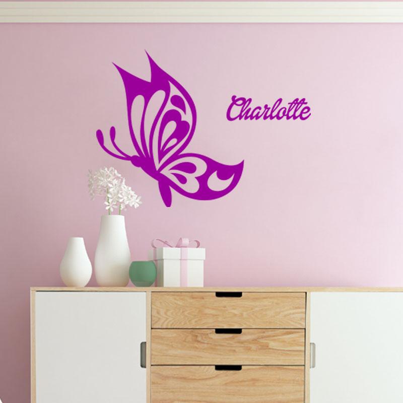 sticker pr nom personnalisable papillon profil chambre. Black Bedroom Furniture Sets. Home Design Ideas