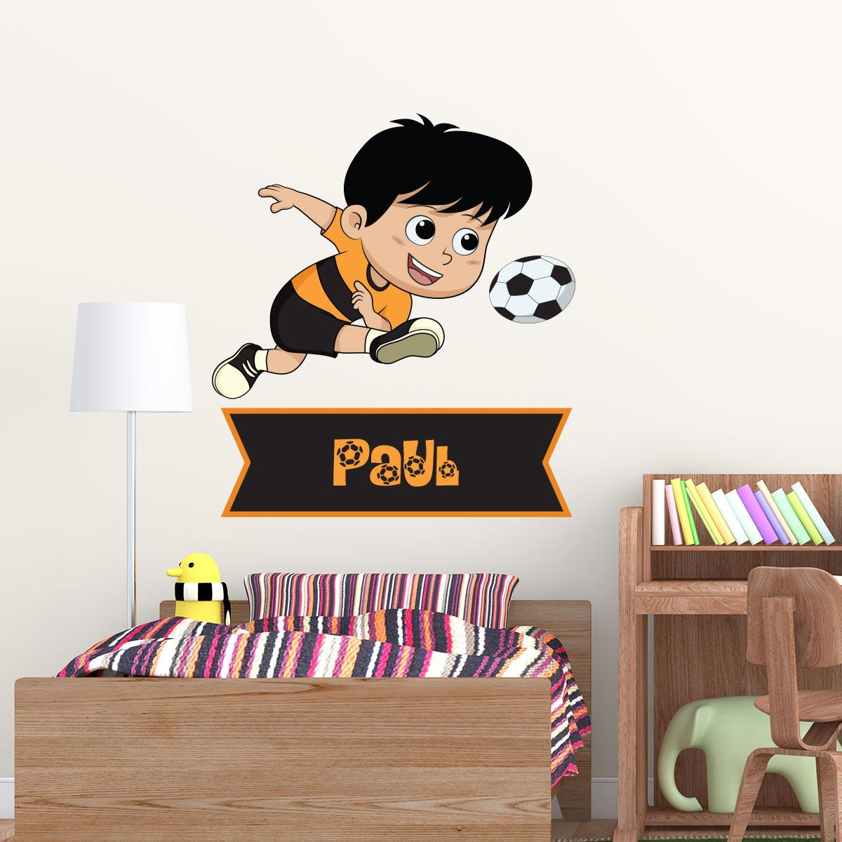 sticker pr nom personnalisable petit footballeur. Black Bedroom Furniture Sets. Home Design Ideas