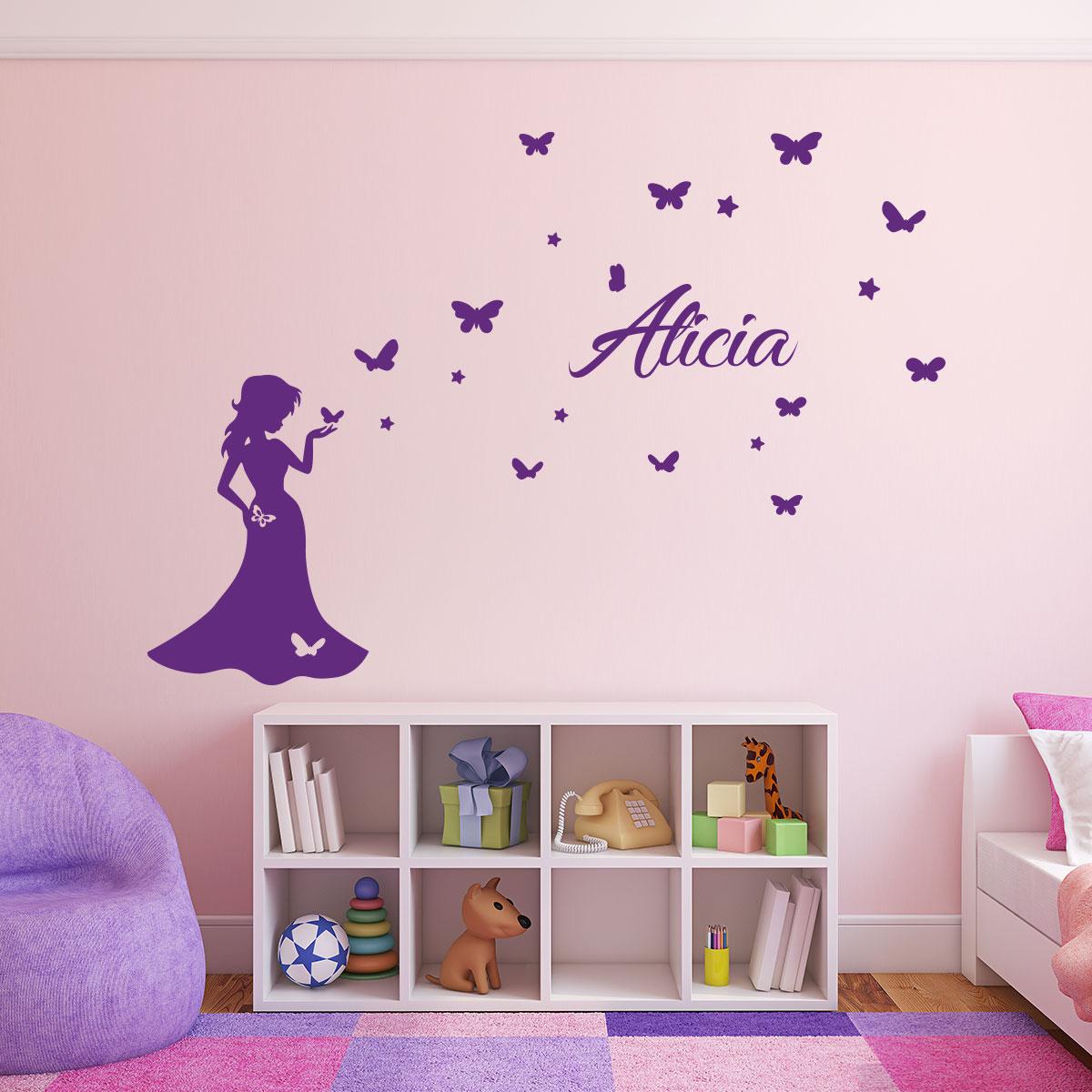 Sticker pr nom personnalisable princesse et les papillons stickers chambre enfants pr noms - Tickers chambre fille princesse ...