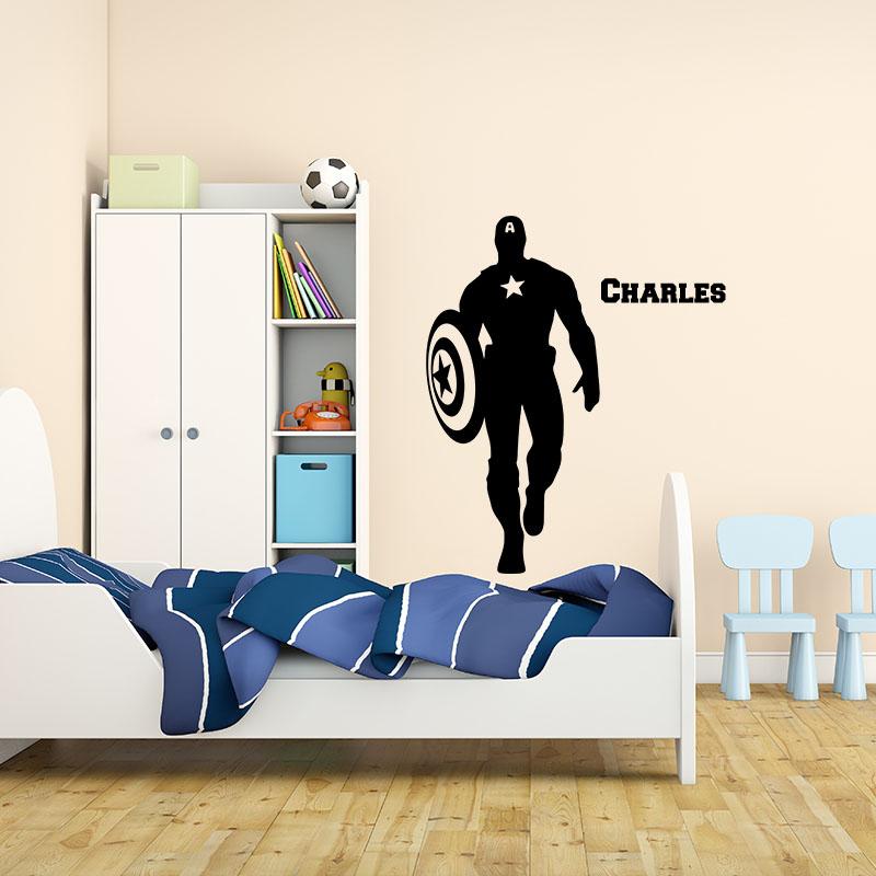 sticker pr nom personnalisable super h ro patriote texte. Black Bedroom Furniture Sets. Home Design Ideas