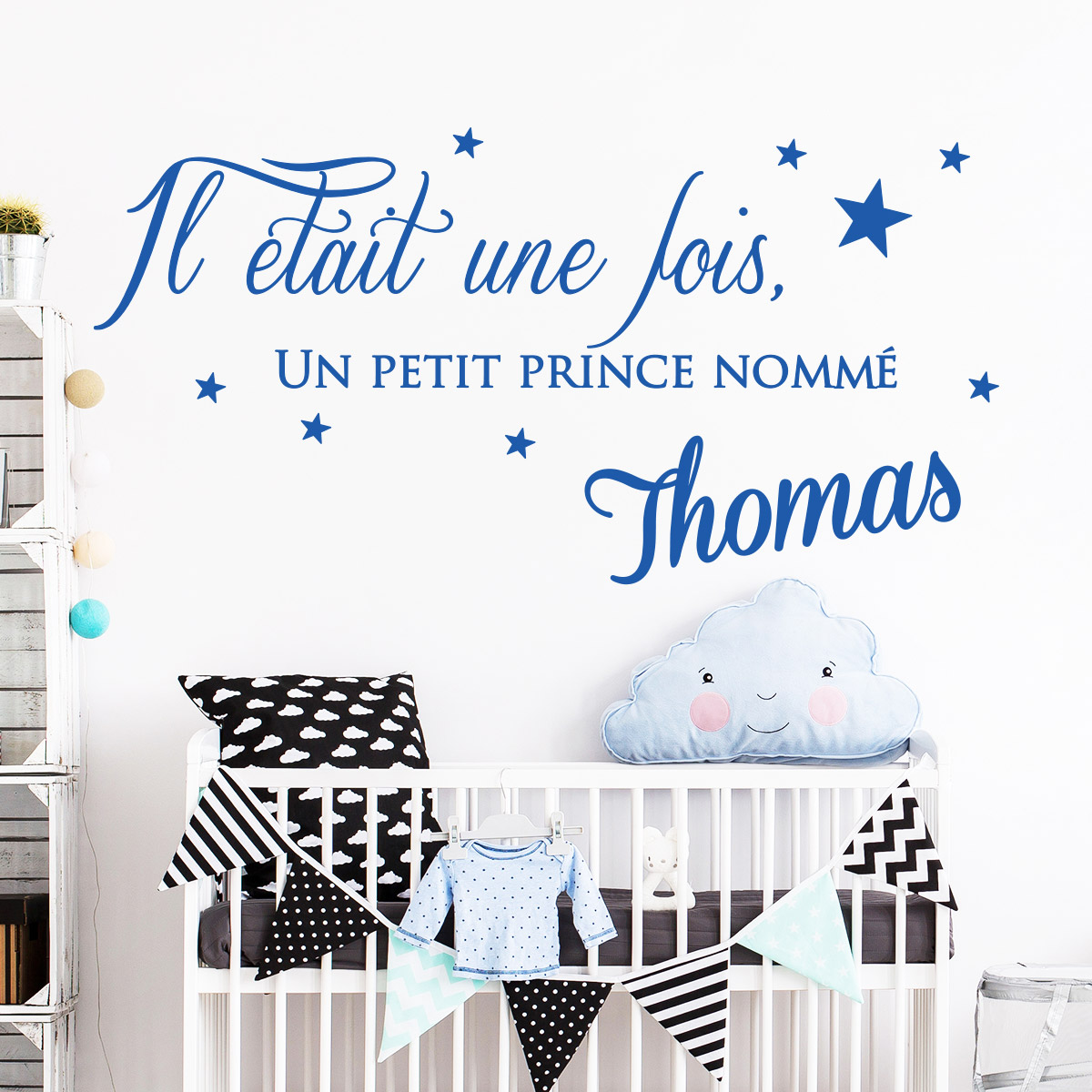 stickers muraux pr nom sticker il tait une fois un petit prince ambiance. Black Bedroom Furniture Sets. Home Design Ideas