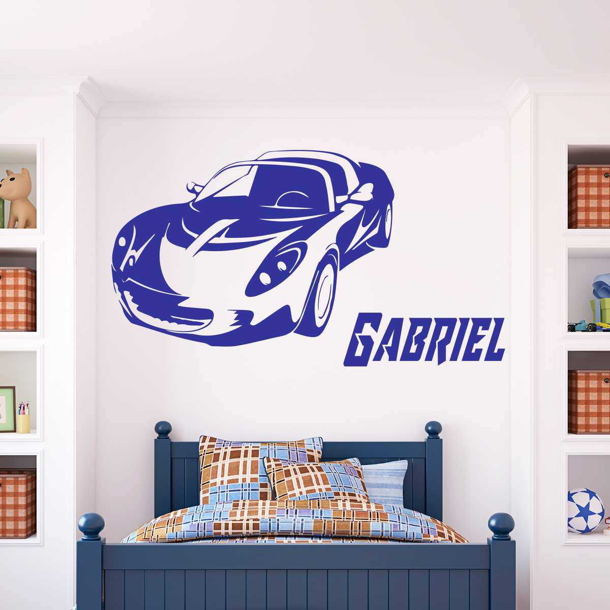 Sticker pr nom personnalisable voiture a rodynamique for Stickers muraux chambre ado garcon