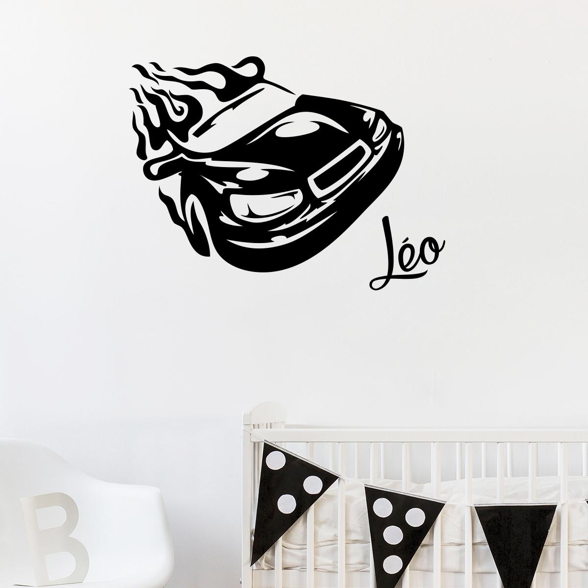 sticker pr nom personnalisable voiture de course chambre. Black Bedroom Furniture Sets. Home Design Ideas