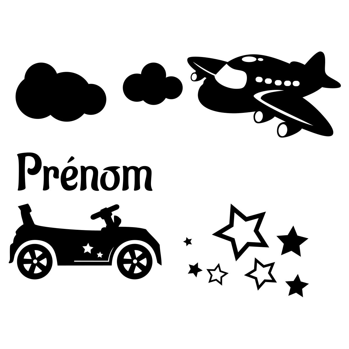 sticker pr nom personnalisable voiture et avion chambre enfants pr noms ambiance sticker. Black Bedroom Furniture Sets. Home Design Ideas