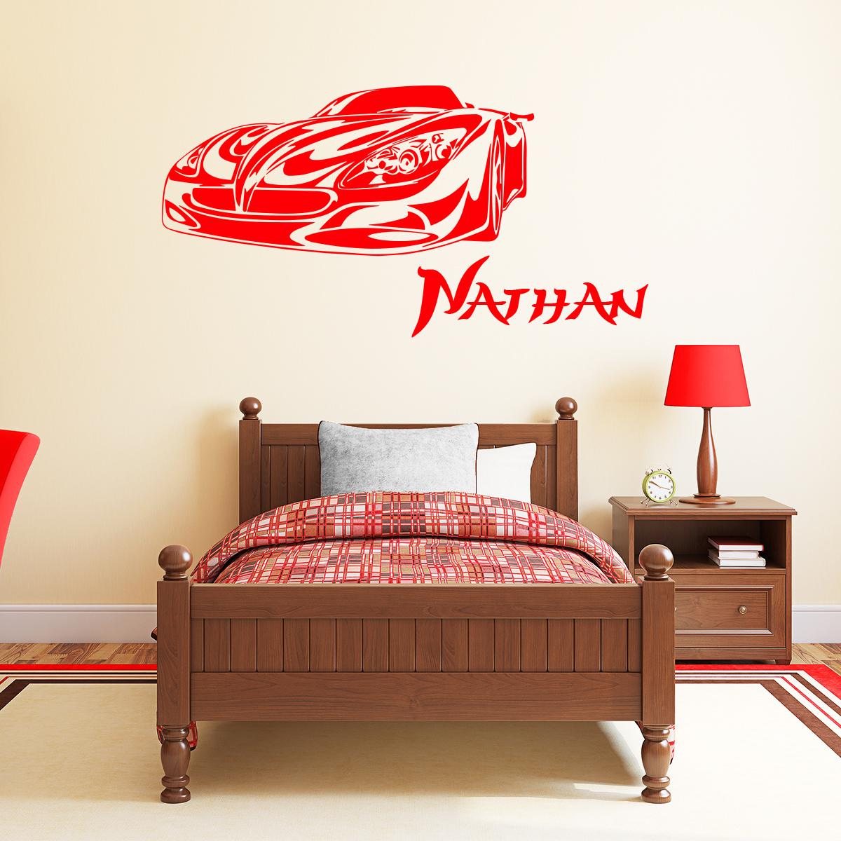 Sticker pr nom personnalisable voiture resplendissante chambre ado gar on ambiance sticker - Stickers voiture chambre garcon ...