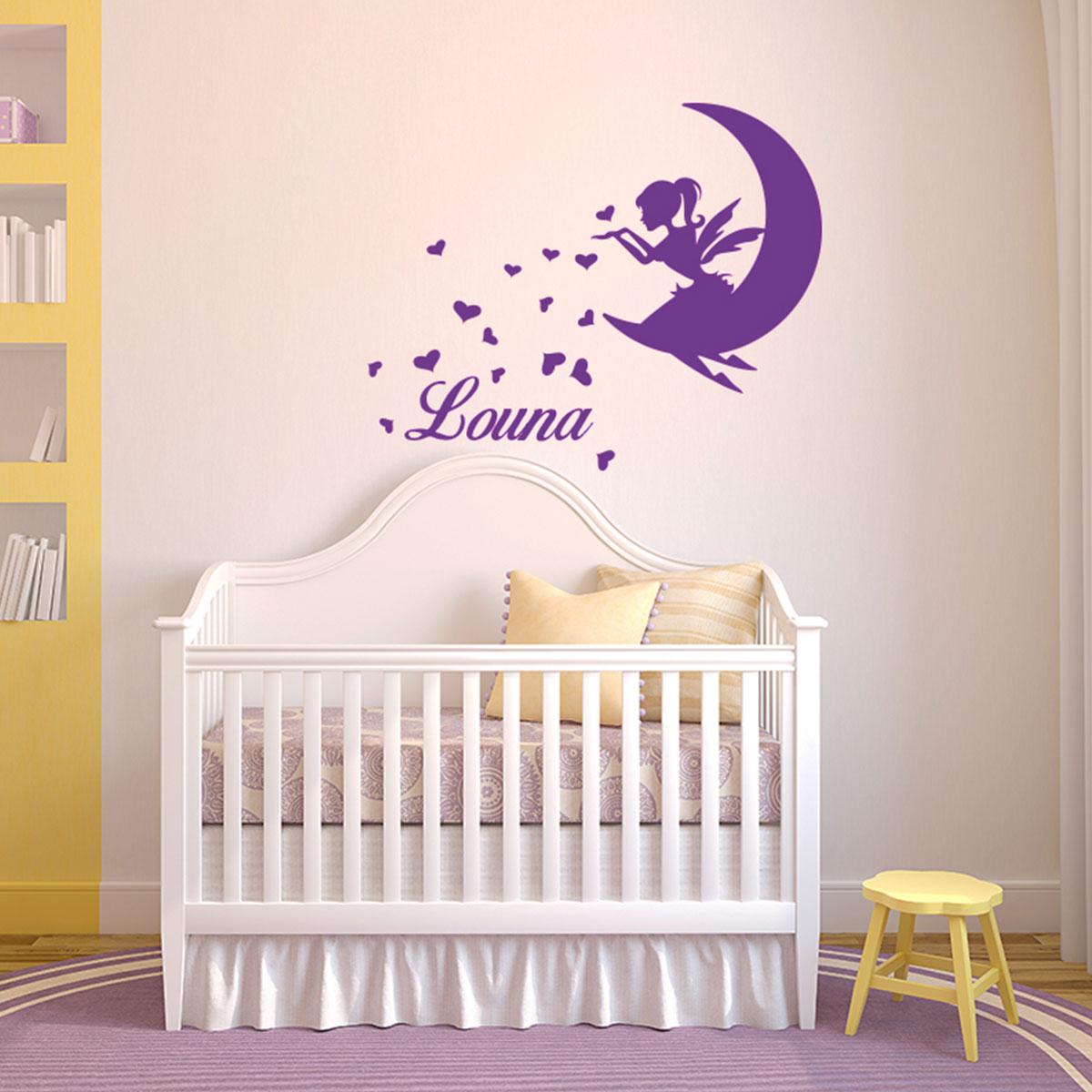 sticker pr nom personnalis f e sur la lune et coeurs stickers filles f es ambiance sticker. Black Bedroom Furniture Sets. Home Design Ideas