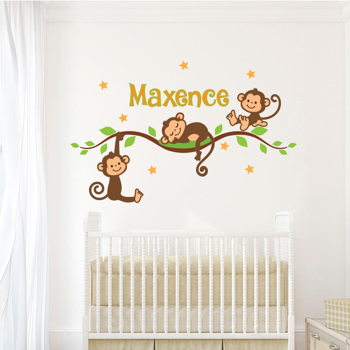 Sticker pr nom personnalis 3 singes b b sur une branche stickers nature arbres ambiance - Stickers muraux personnalise ...