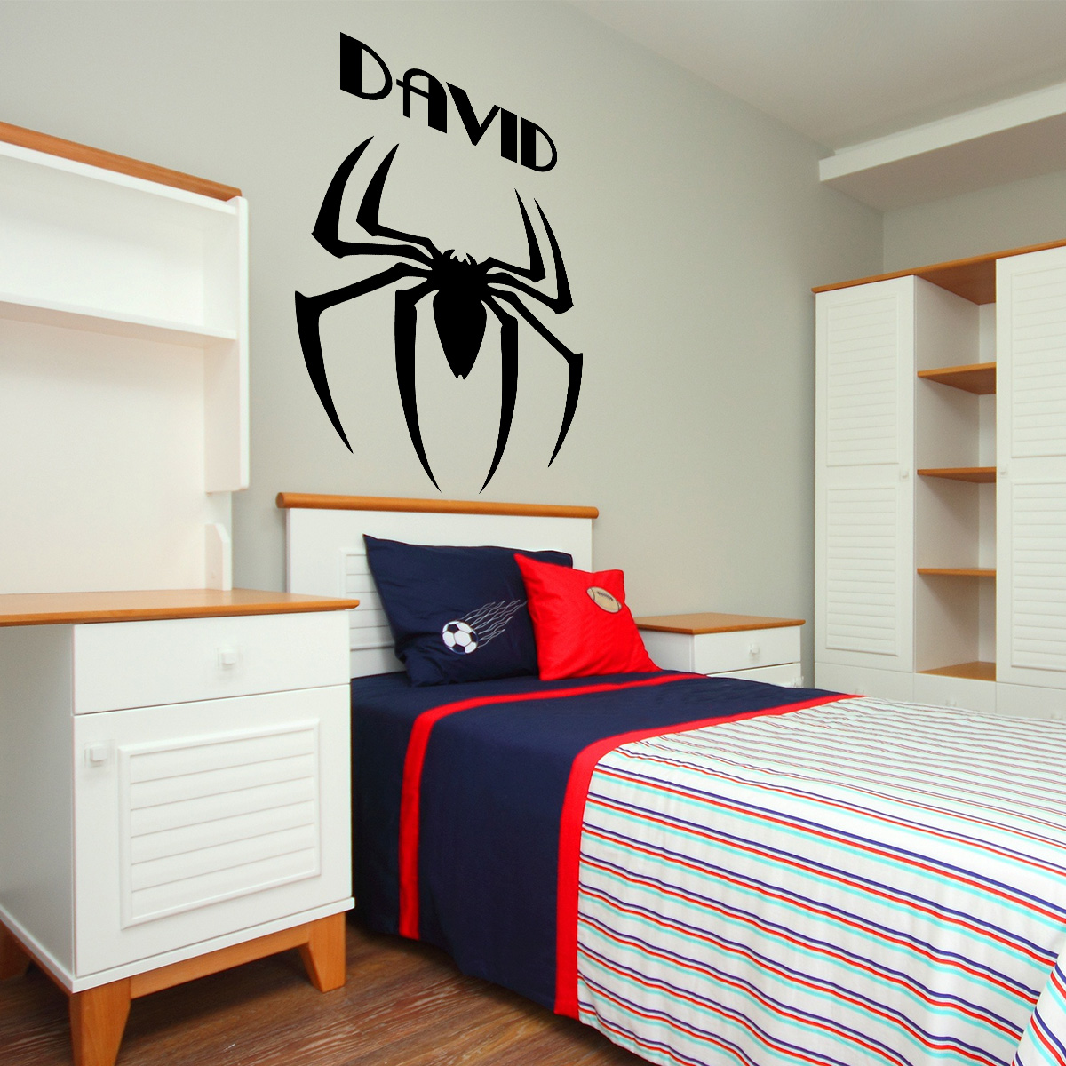 sticker pr nom personnalis araign e avec des super pouvoirs animaux insectes ambiance sticker. Black Bedroom Furniture Sets. Home Design Ideas