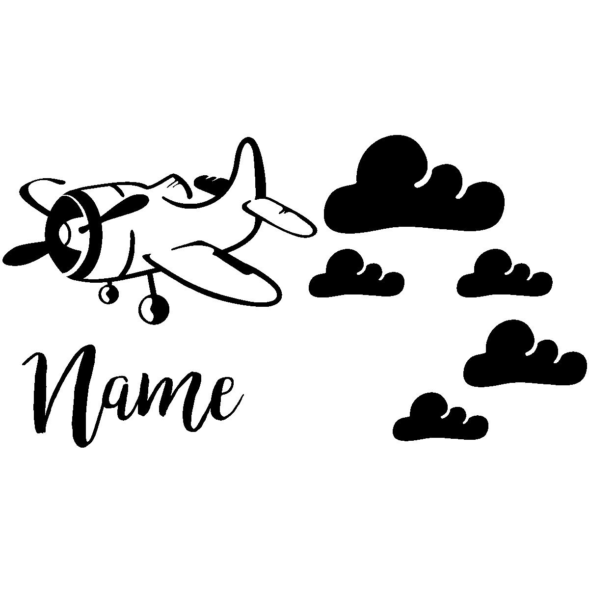 sticker pr nom personnalis avion et nuages mini stickers pr nom perso ambiance sticker. Black Bedroom Furniture Sets. Home Design Ideas