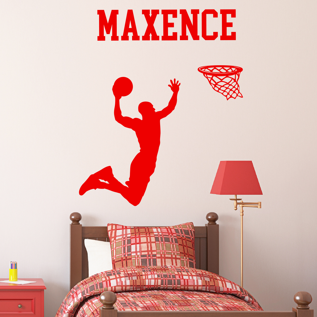 sticker pr nom personnalis basketteur sports et football basket ambiance sticker. Black Bedroom Furniture Sets. Home Design Ideas