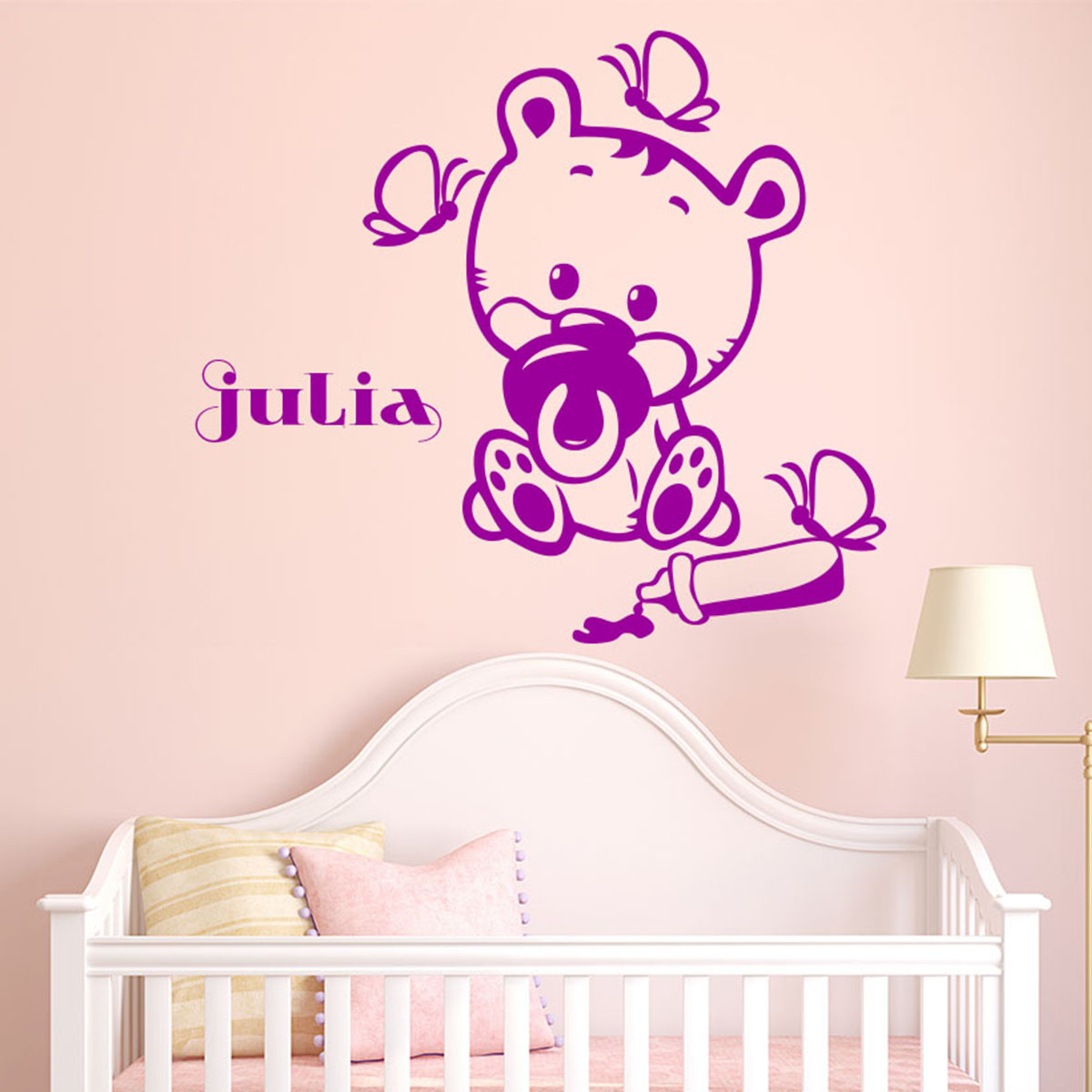 Sticker pr nom personnalis b b ourson texte for Stickers ourson chambre bebe
