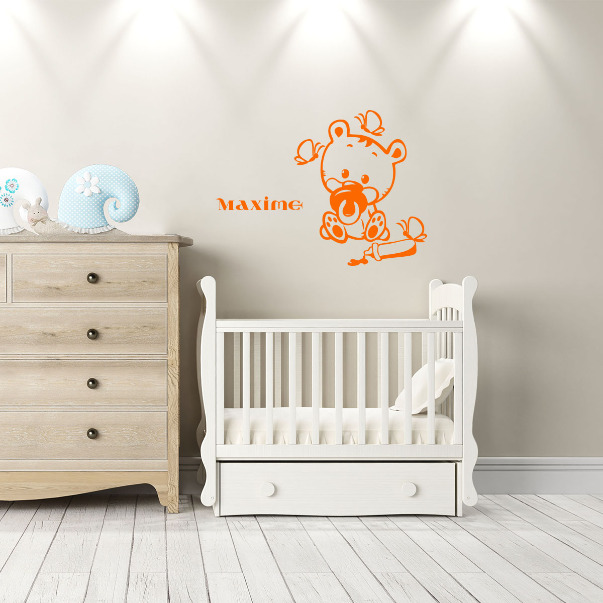 sticker pr nom personnalis b b ourson texte. Black Bedroom Furniture Sets. Home Design Ideas