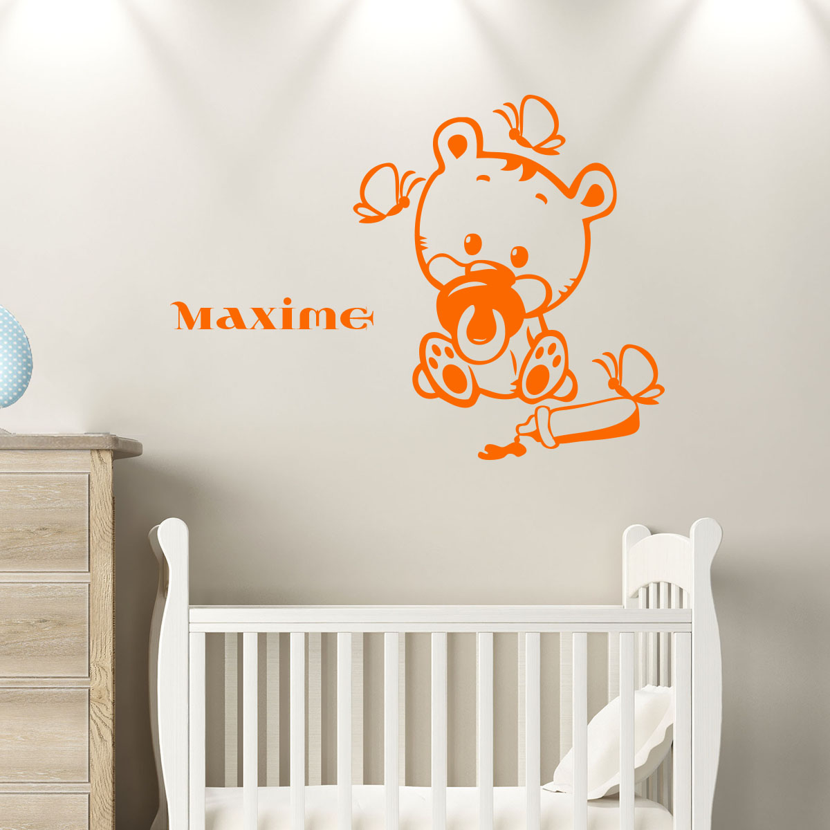 sticker pr nom personnalis b b ourson chambre enfants pr noms ambiance sticker. Black Bedroom Furniture Sets. Home Design Ideas