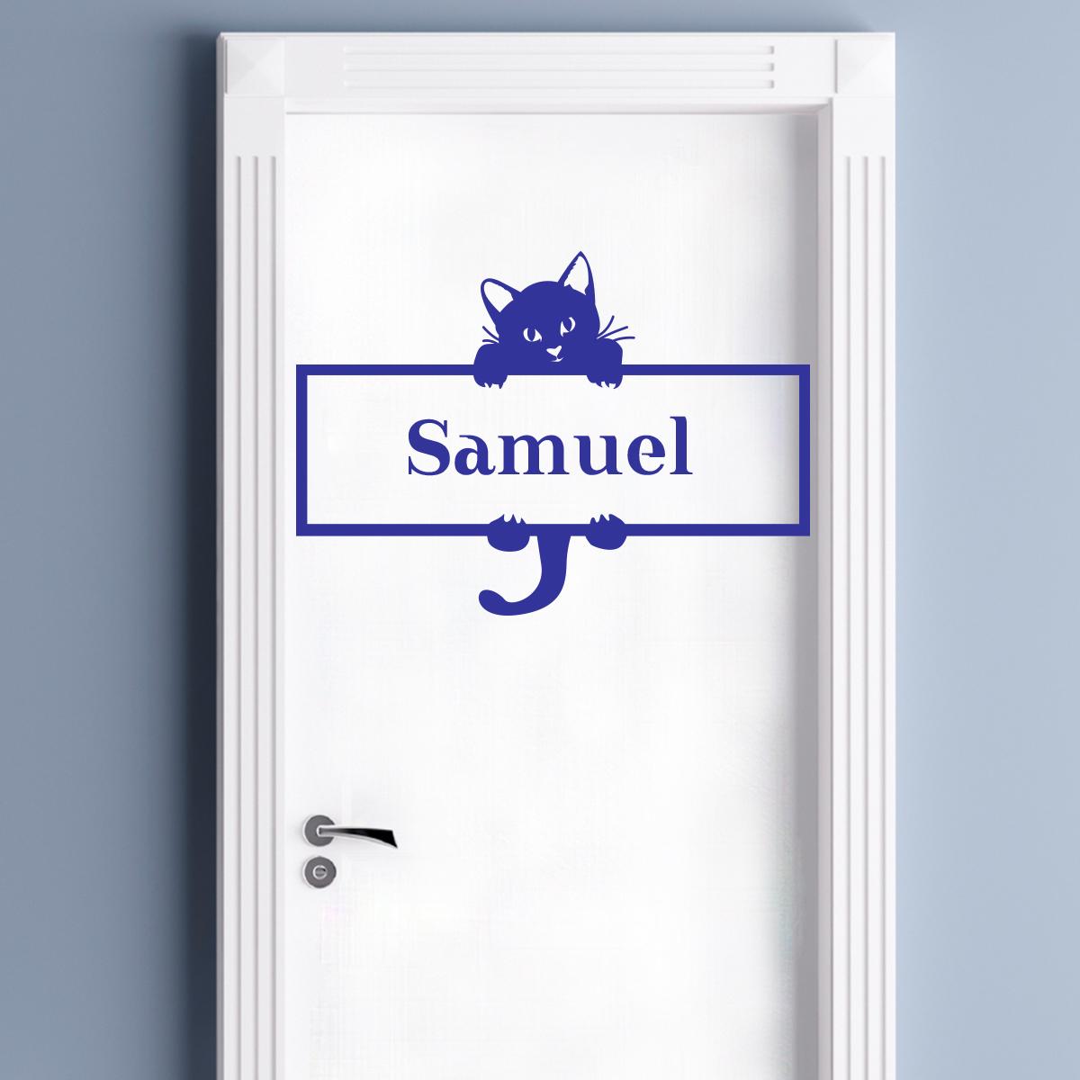 Sticker pr nom personnalis chat suspendu chambre - Stickers muraux personnalise ...