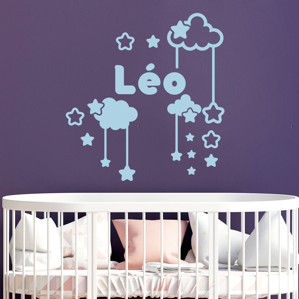 sticker pr nom personnalis ciel toil entre les nuages mini stickers pr nom perso ambiance. Black Bedroom Furniture Sets. Home Design Ideas