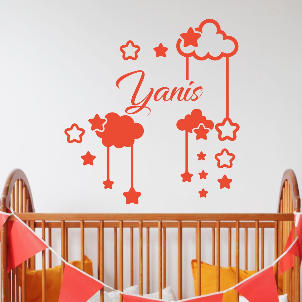 sticker pr nom personnalis ciel toil entre les nuages chambre enfants pr noms ambiance. Black Bedroom Furniture Sets. Home Design Ideas