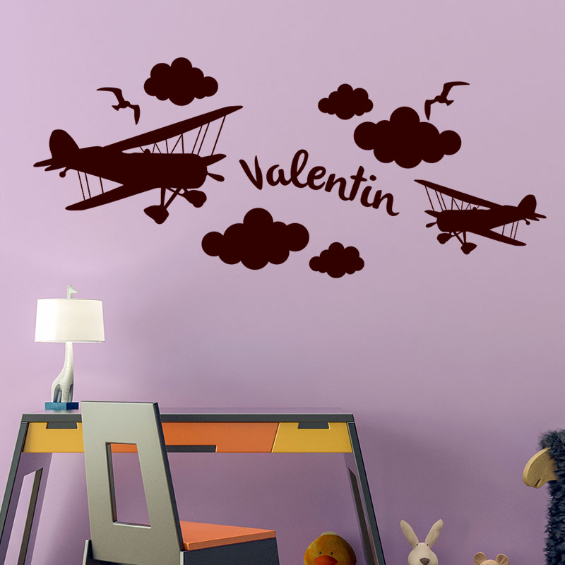 sticker pr nom personnalis dans les avions texte. Black Bedroom Furniture Sets. Home Design Ideas