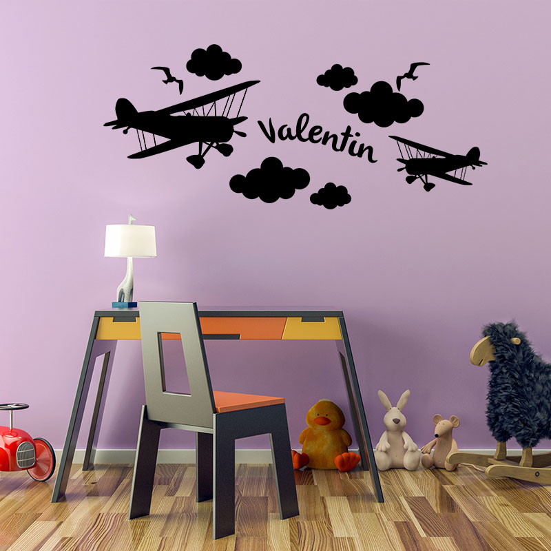 sticker pr nom personnalis dans les avions texte personnalisable pr nom ambiance sticker. Black Bedroom Furniture Sets. Home Design Ideas