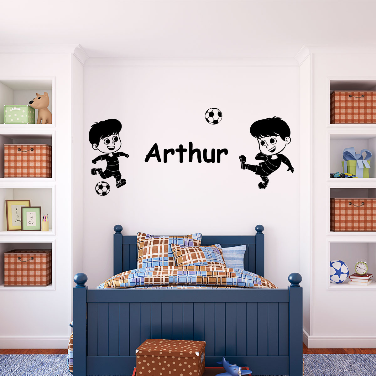 sticker pr nom personnalis enfants foot sports et football football ambiance sticker. Black Bedroom Furniture Sets. Home Design Ideas