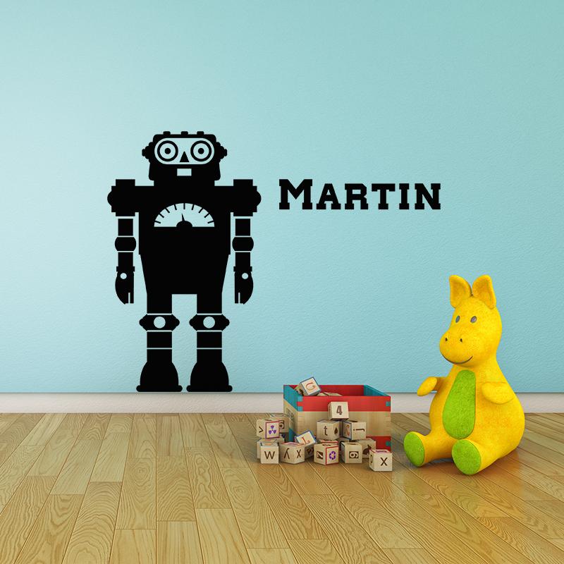 sticker pr nom personnalis est un robot texte. Black Bedroom Furniture Sets. Home Design Ideas