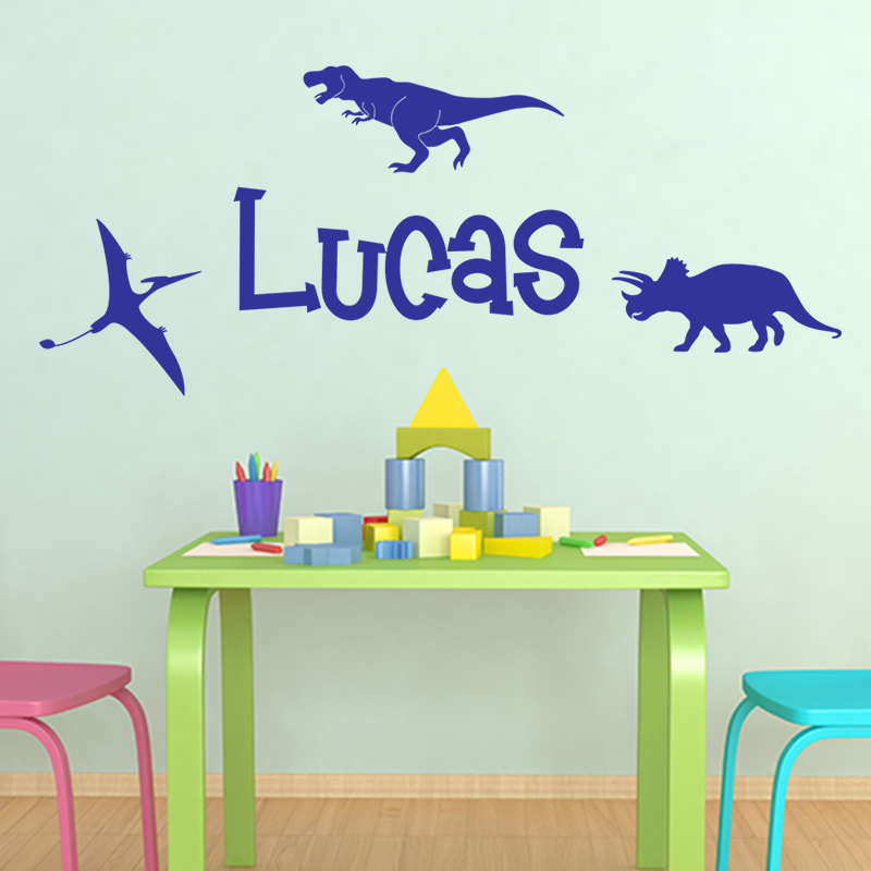 sticker pr nom personnalis et 3 dinosaures gar ons dinosaures ambiance sticker. Black Bedroom Furniture Sets. Home Design Ideas