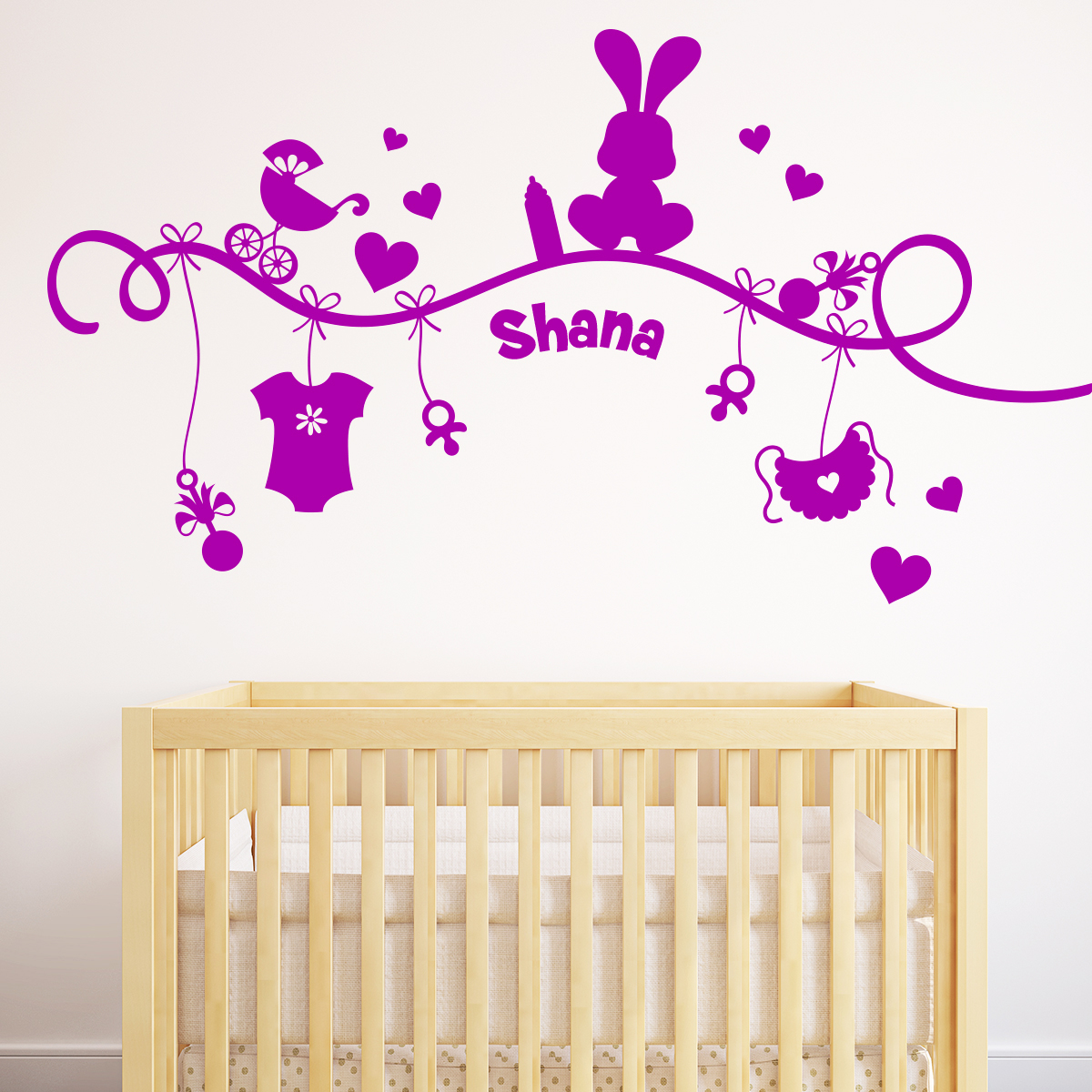 sticker pr nom personnalis et la colline enchant e animaux animaux de la ferme ambiance sticker. Black Bedroom Furniture Sets. Home Design Ideas