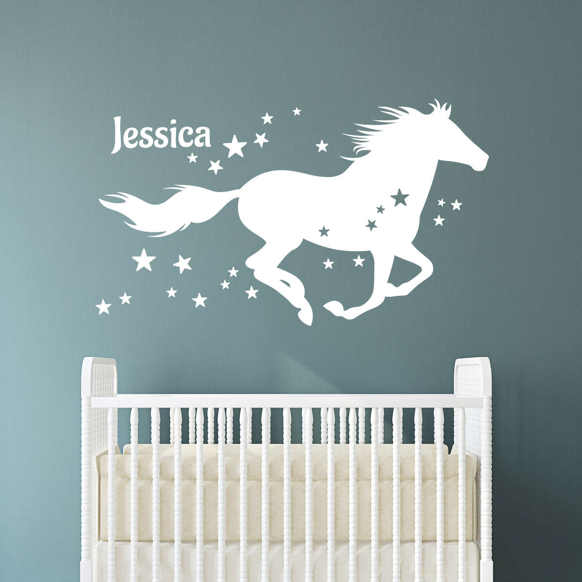 sticker pr nom personnalis et le cheval toil animaux chevaux ambiance sticker. Black Bedroom Furniture Sets. Home Design Ideas
