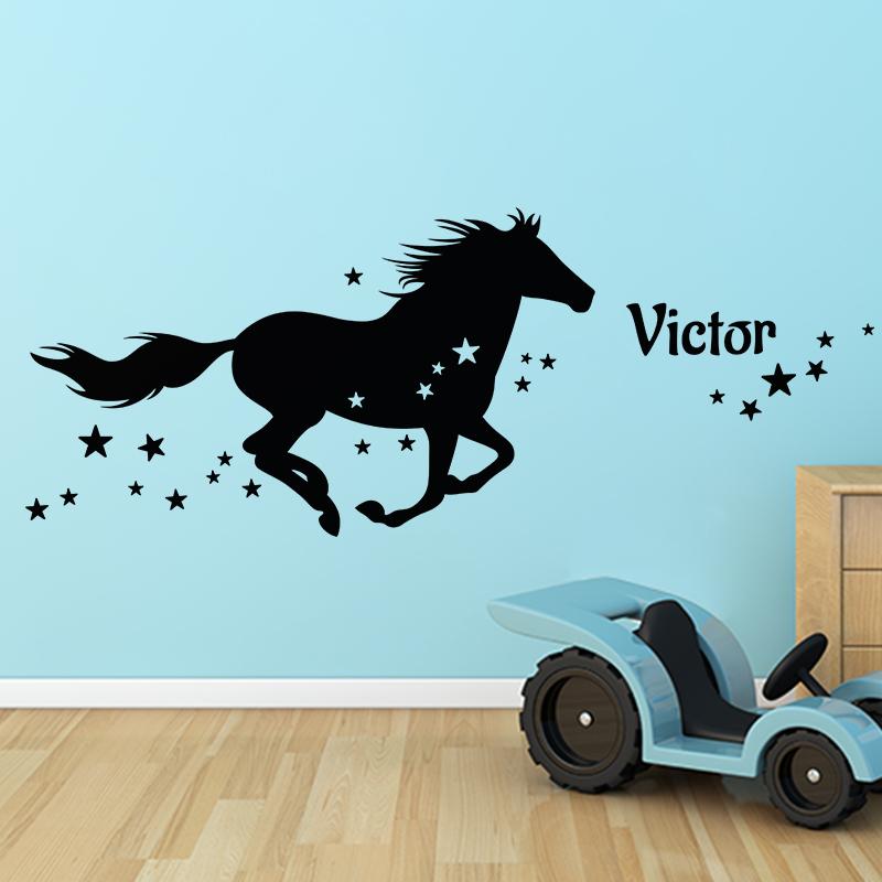 sticker pr nom personnalis et le cheval toil animaux. Black Bedroom Furniture Sets. Home Design Ideas