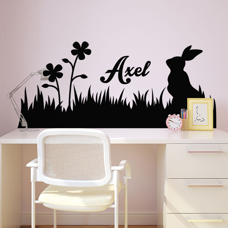 sticker pr nom personnalis et le lapin des champs nature fleurs ambiance sticker. Black Bedroom Furniture Sets. Home Design Ideas
